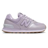 Кроссовки New Balance 574 фиолетовые кожаные
