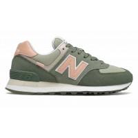Кроссовки New Balance 574 Classic зеленые с розовым