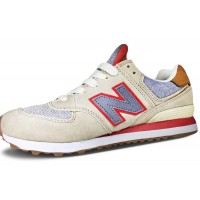 Кроссовки New Balance 574 бежевые с красным