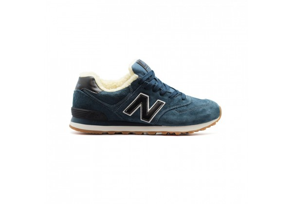 Кроссовки New Balance 574 зимние с мехом синие