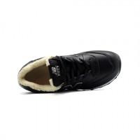 Кроссовки New Balance 574 зимние с мехом кожаные черные