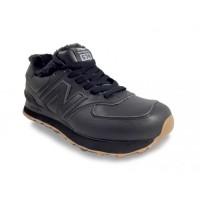Кроссовки New Balance 574 зимние с мехом кожаные полностью черные