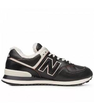 Кроссовки New Balance 574 зимние черные с белым