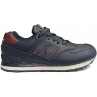 New Balance 574 Темно-синие кожаные