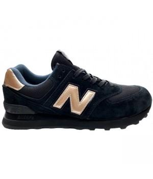 Кроссовки New Balance 574 черные с золотом