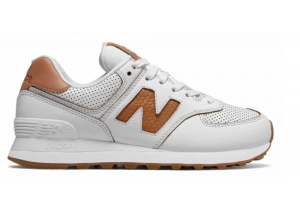 Кроссовки New Balance 574 мужские бело-коричневые