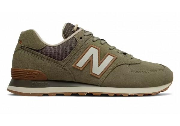 Кроссовки New Balance 574 мужские зелено-коричневые