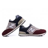Кроссовки New Balance 574 Сине-бежево-бордовые