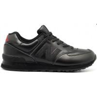 New Balance 574 Черные кожаные моно
